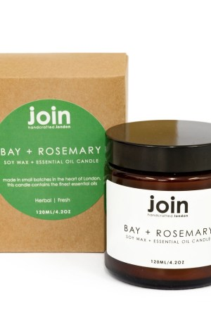 Bay + Rosemary soy candles by Join are inspired Scandinavian living. Designed for those who enjoy house plants, nature, cosy moments and nurturing their wellbeing. The herbal scent of these natural soy candles will fill the room with freshness, and look beautiful next to your other home decor, bathroom accessories or next to your favourite project. The high quality bay and rosemary essential oils add a subtle comforting antiseptic quality, without ever smelling artificial or overpowering. A treat for body and mind! If you're looking for Christmas present ideas, anniversary gifts, or even a house warming present, the nurturing quality of this candle make it a beautiful and thoughtful gift for her. Join candles are hand crafted with high quality essential oils and vegan soy wax, gift wrapped in beautiful recycled kraft box. Do reuse this packaging around the house or workspace! You can see more of Join's essential oil candles, reed diffusers and room mists at chalkandmoss.com.