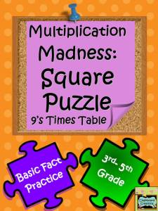 Math Multiplication Square Puzzle Free Nines