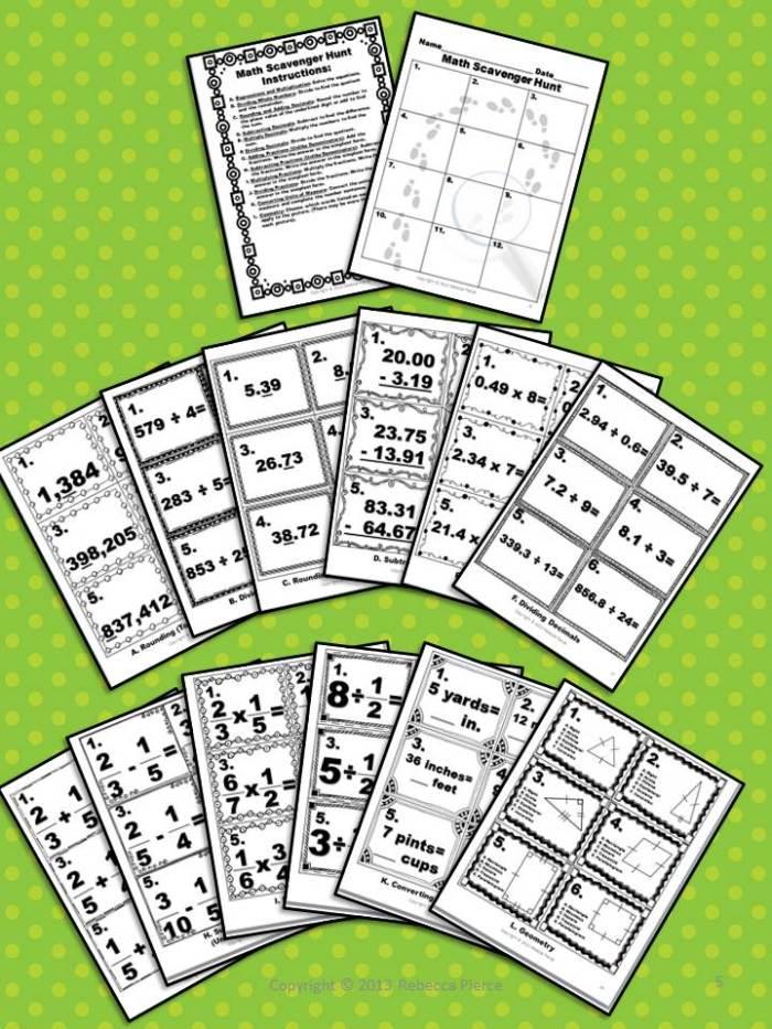 Math Scavenger Hunts 5th Grade