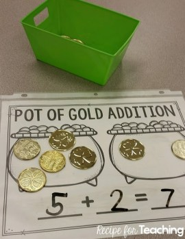 Pot of Gold Addition St. Patrick's Day Math Center