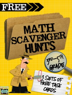 FREE: 3 sets of Task Cards for Math Scavenger Hunts (3rd-5th Grade).