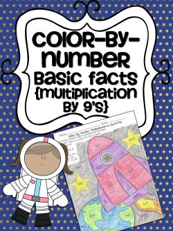 FREE Color-by-number practicing basic facts (Multiplication by 9's)