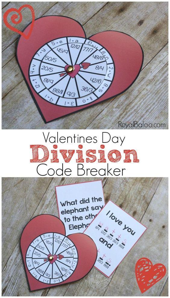Free Valentines Day Division Math Center