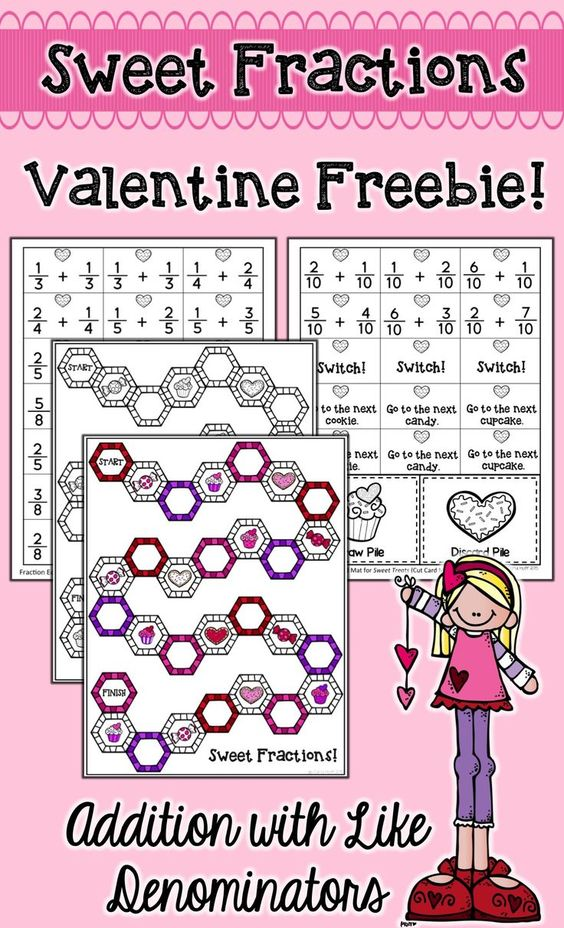 Sweet Fractions Valentines Day Math Center