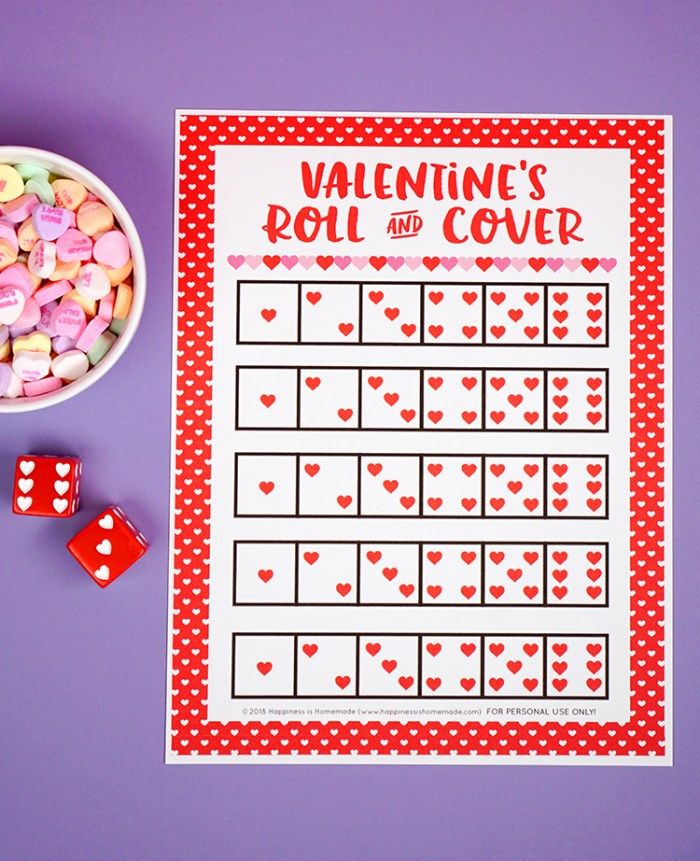 Valentine's Day Roll and Cover Math Center
