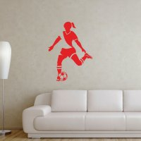 Soccer Girl Player Removable ChalkTalkGraphix Wall Decal ...
