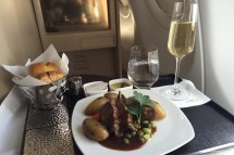 Lamb chop with baked potatoes and mint jus