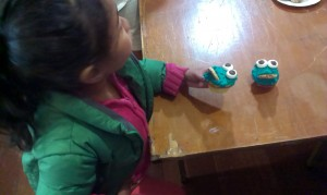 Fun activity of creating Cookie monster cup cakes