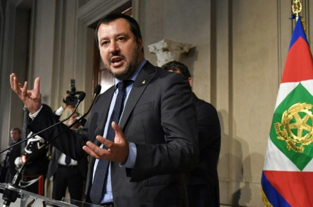 Le chef de la Ligue, Matteo Salvini à Rome, le 14 mai 2018 (AFP - ANDREAS SOLARO)