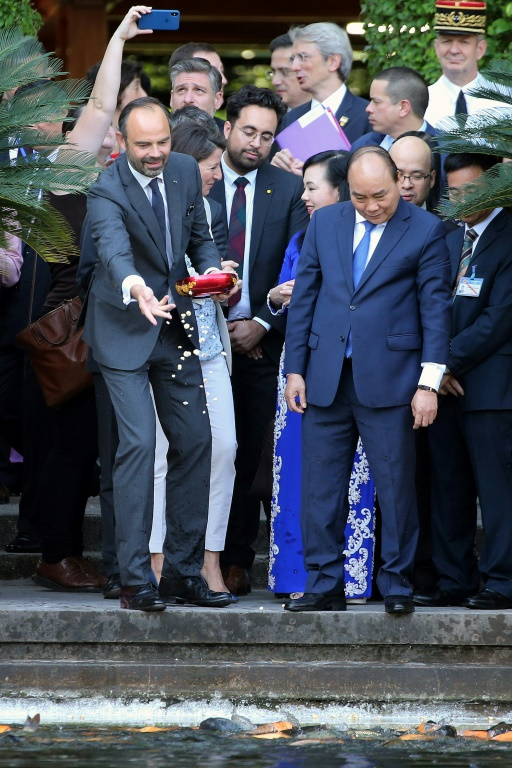 French Prime Minister Edouard Philippe (left) with his Vietnamese counterpart Nguyen Xuan Phuc, in Hanoi's presidential palace, November 2, 2018 (POOL / AFP - Minh HOANG)
