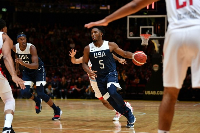 Donovan Mitchell (c) in a friendly against Australia, Sydney, August 26, 2019 (AFP / Archives - SAEED KHAN)