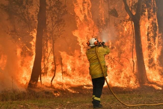 Un pompier lutte contre un incendie, le 10 décembre 2019 à Central Coast, à une centaine de kilomètres au nord de Sydney, en Australie (AFP/Archives - Saeed KHAN)