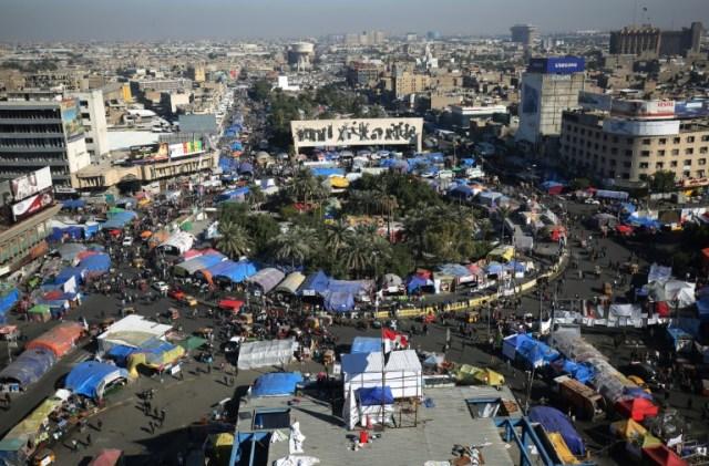 Le campement des manifestants sur le place Tahrir à Bagdad, le 20 décembre 2019 (AFP - AHMAD AL-RUBAYE)