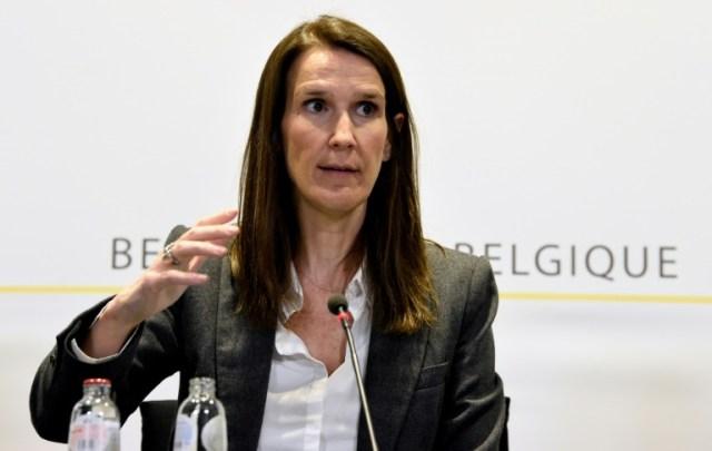 La première ministre belge Sophie Wilmès donne une conférence de presse à Bruxelles, le 17 mars 2020 (BELGA/AFP - Bert VANDENBROUCKE)
