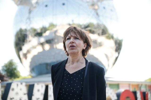 Zoubida Jellab, présidente de l'Atomium, lors d'une interview avec l'AFP, le 29 mai 2020 à Bruxelles (AFP - Aris Oikonomou)