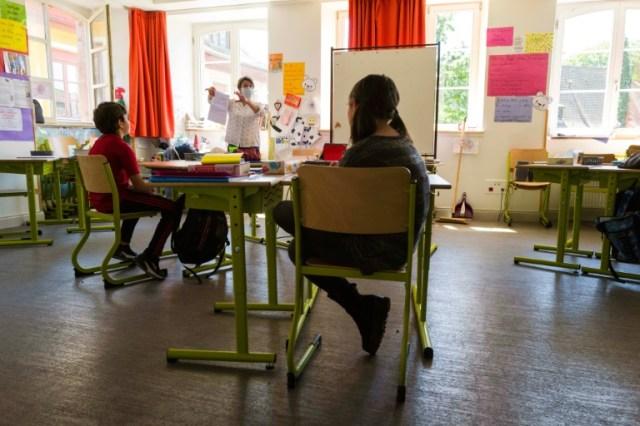 Une salle de classe à Mulhouse, le jour de la réouverture le 18 mai 2020 (AFP/Archives - SEBASTIEN BOZON)