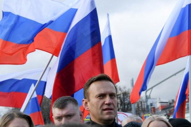 (ARCHIVES) Le leader d'opposition russe Alexeï Navalny, en tête d'une manifestation le 29 février 2020 à Moscou (AFP/Archives - Kirill KUDRYAVTSEV)