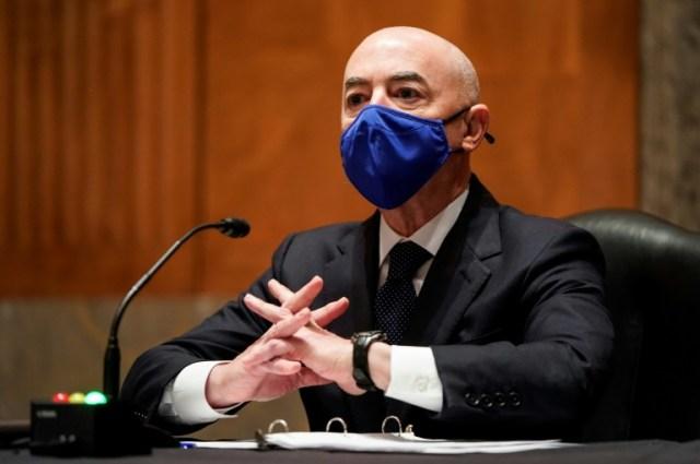 Alejandro Mayorkas, nommé ministre de la Sécurité intérieur par le président Joe Biden, le 19 janvier 2021 à Washington (POOL/AFP/Archives - JOSHUA ROBERTS)