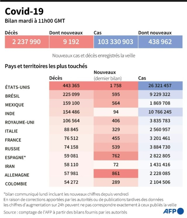 Covid-19: bilan mondial (AFP - )