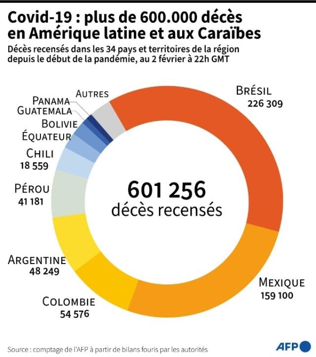 Covid-19 : 600.000 décès en Amérique latine (AFP - Bertille LAGORCE)
