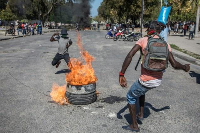 A Port-au-Prince des manifestants ont affronté la police dimanche (AFP - Valerie Baeriswyl)