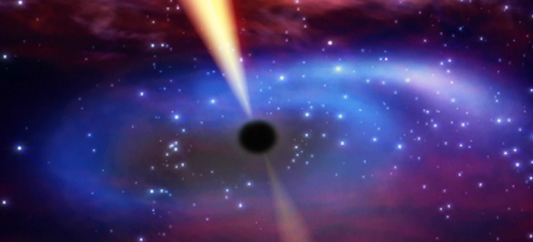 This artist's impression shows the remains of a star that came too close to a supermassive black hole. Extremely sharp observations of the event Swift J1644+57 with the radio telescope network EVN (European VLBI Network) have revealed a remarkably compact jet, shown here in yellow.