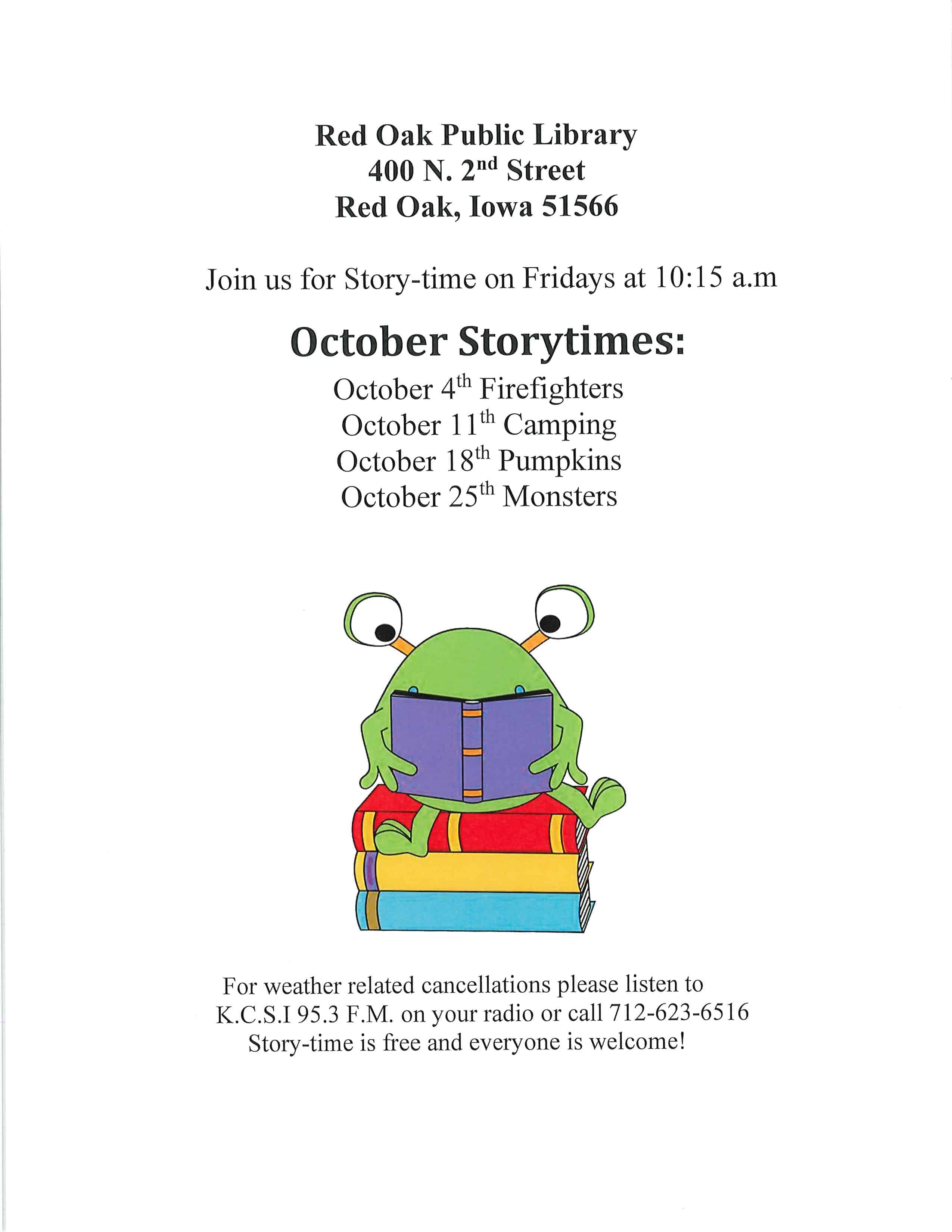 Red Oak Library Storytime October