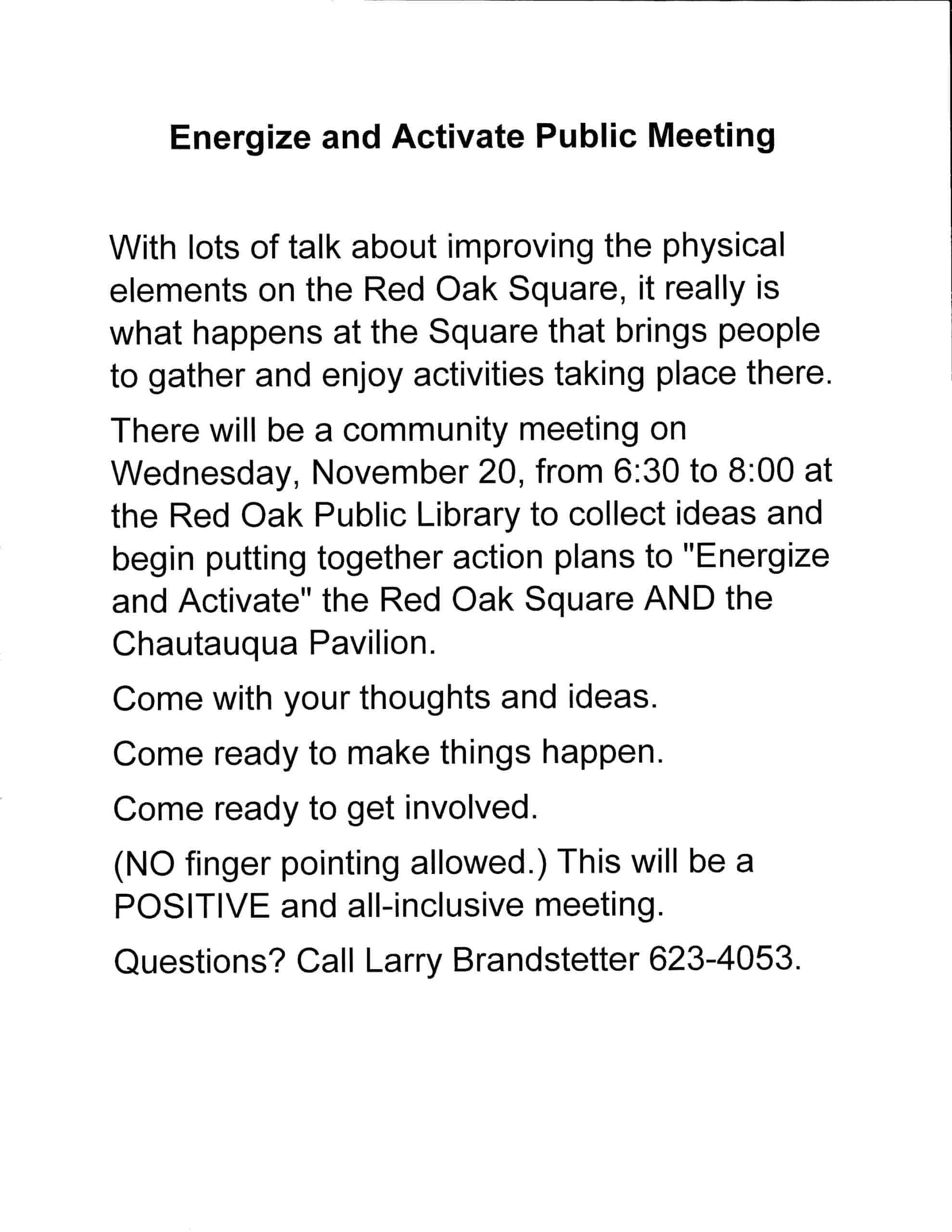 Energize and Activate Public Meeting