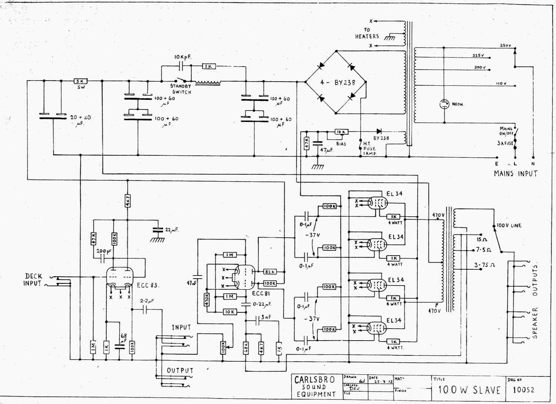 Carlsbro 100 watt Slave Amp Schematic