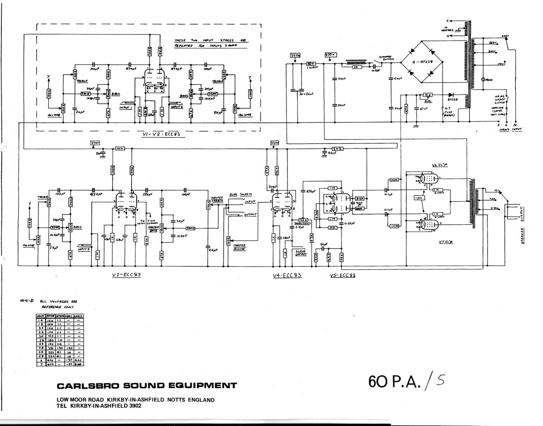 Carlsbro 60 PA 5 Amp Schematic