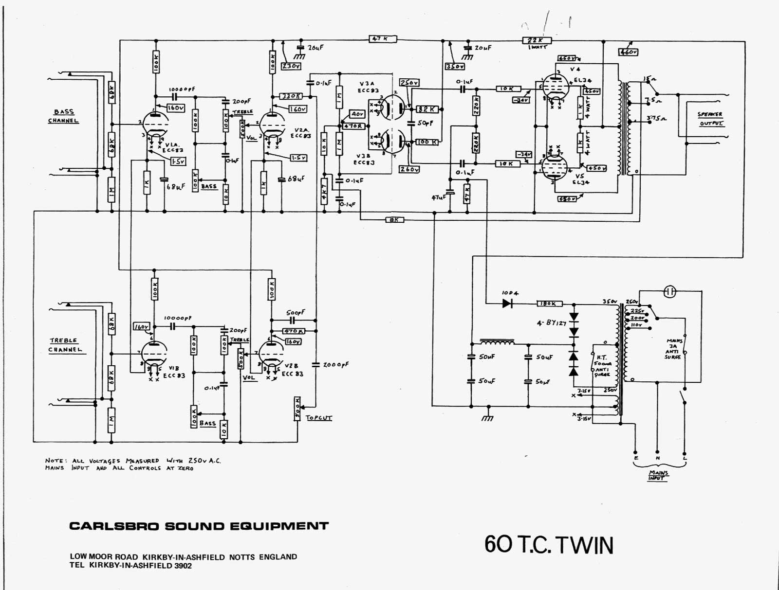 Ramsey Dc 200 Wiring Diagram Carlsbro 600 T C Twin Amp Schematic