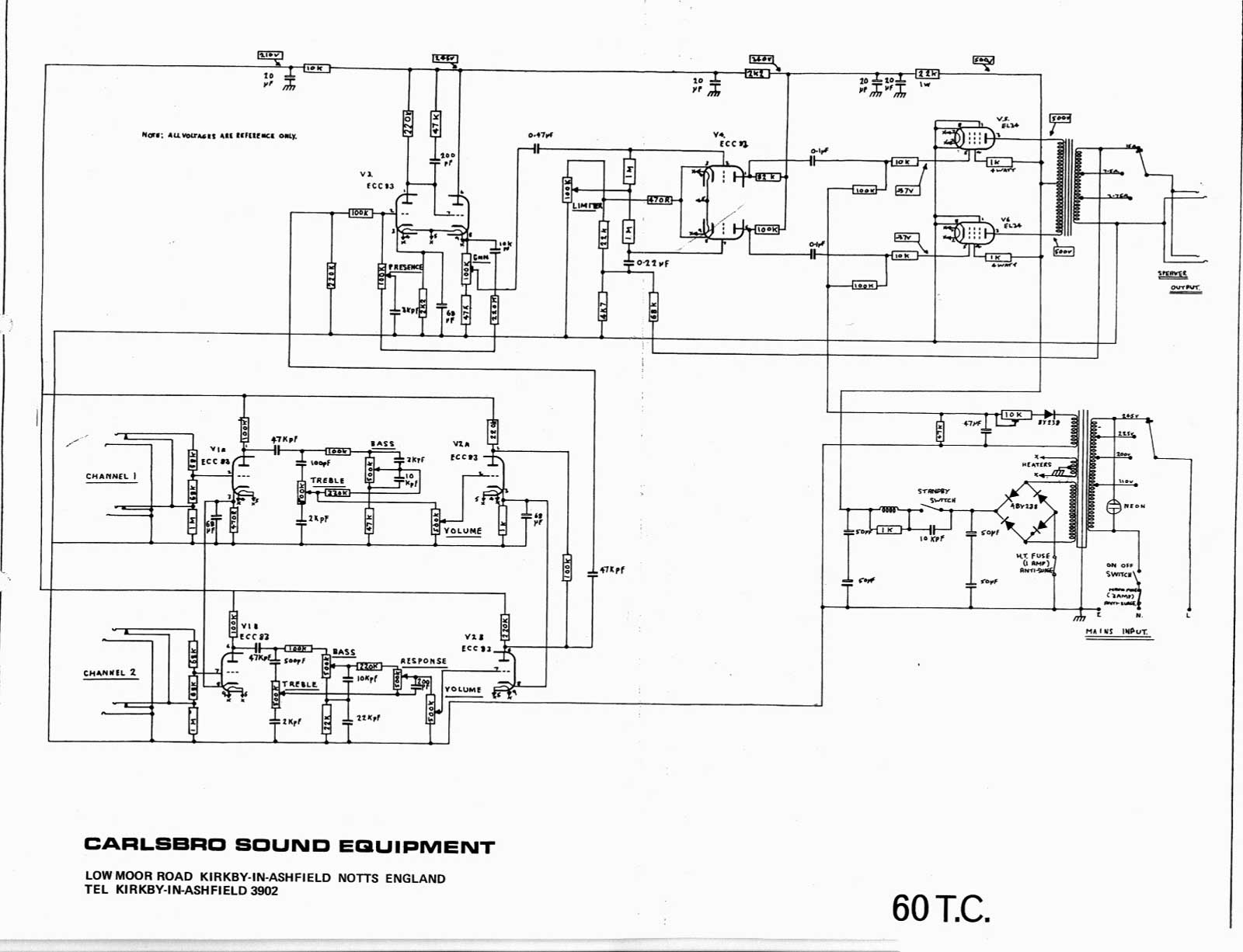 Wire Diagram Wiring Schematic Carlsbro 600 T C Amp Schematic