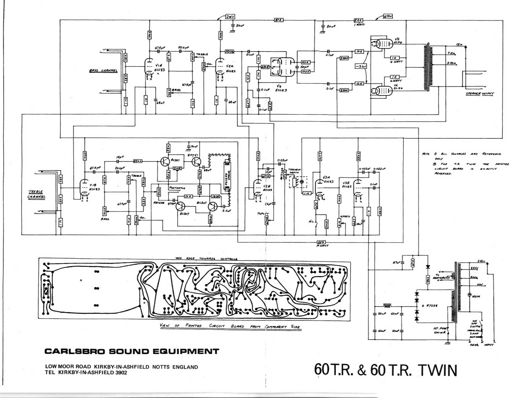 Pa Intercom Wiring Diagram Carlsbro 60 T R And 60 T R Twin Amp Schematic