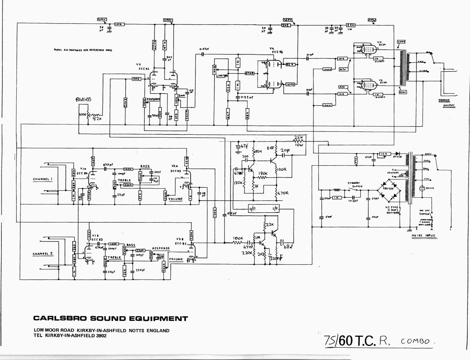 Amp Wiring Diagram For 2006 Pat Carlsbro 75 60 T C R Amp Schematic