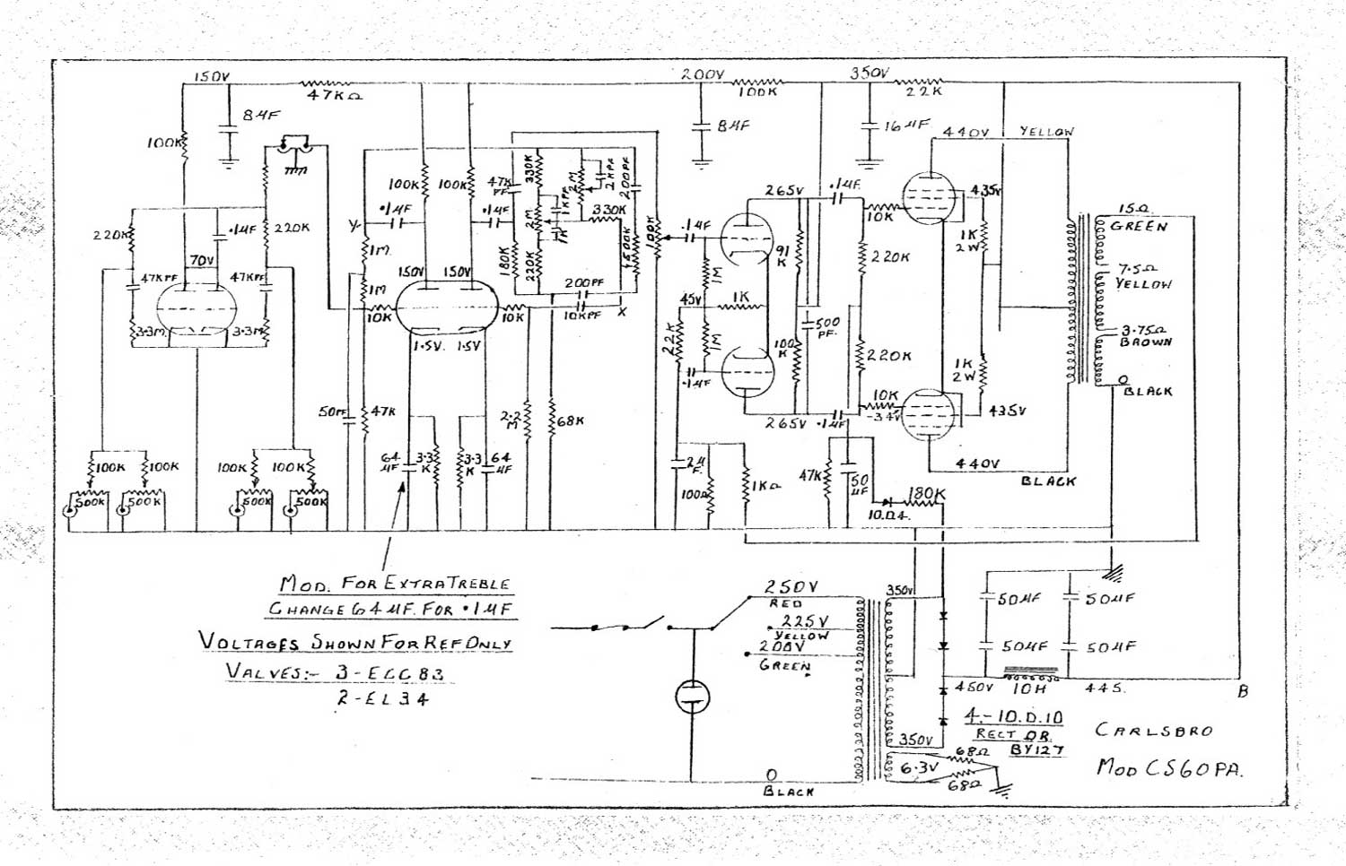 Carlsbro Modified CS60 P.A. Amp Schematic