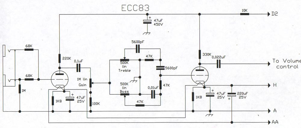 bass guitar wiring diagram honeywell thermostat 4 wire champ cba-500 amp - schematic