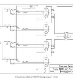 vampower 100 watt pa head schematic sheet four [ 1200 x 927 Pixel ]