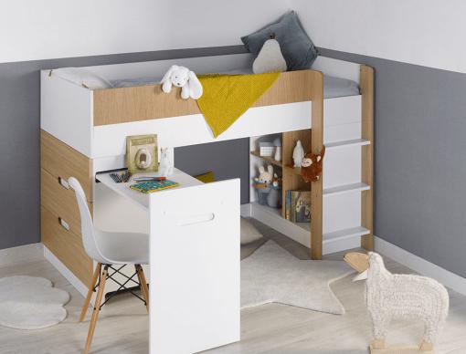 lit mi hauteur bureau commode opus blanc bois
