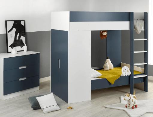 chambre enfant lit superpose evolutif opus blanc bleu nuit