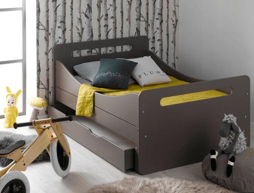lit enfant evolutif taupe feroe avec tiroir matelas