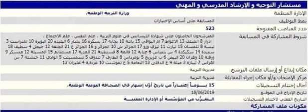 عاجل اعلان مسابقة توظيف مستشار التوجيه 2019