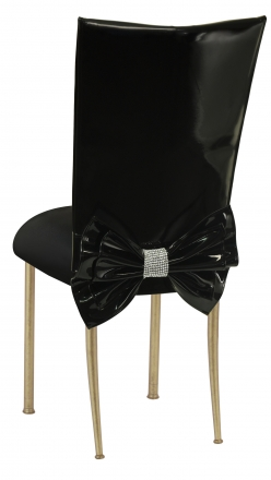 leather chairs for sale ergonomic chair kogan by collection rentals wedding black patent cover with rhinestone bow and stretch knit cushion on gold legs