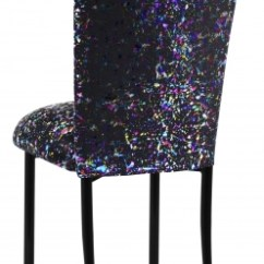 Black Glitter Chair Covers Hanging Homestore And More Chairs By Collection Rentals For Sale Wedding Paint Splatter Cover Cushion On Legs 1