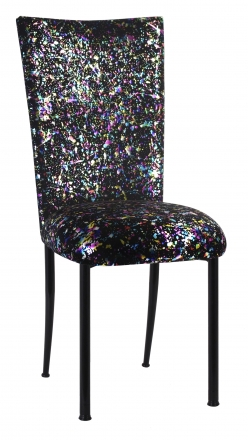black glitter chair covers lowes kitchen cushions chairs by collection rentals for sale wedding paint splatter cover and cushion on legs 2