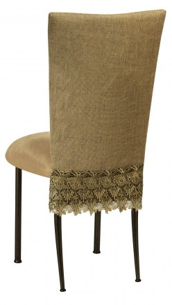 burlap chair covers for sale storage bean bag flamboyant 3 4 cover with camel suede cushion on brown legs 1