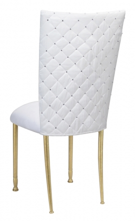 white and gold chair oak kitchen chairs by collection rentals for sale wedding diamond tufted taffeta cover with suede cushion on legs 1