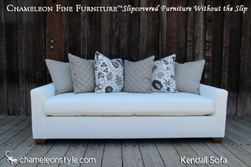 Kendall Sofa - White with loose back cushions