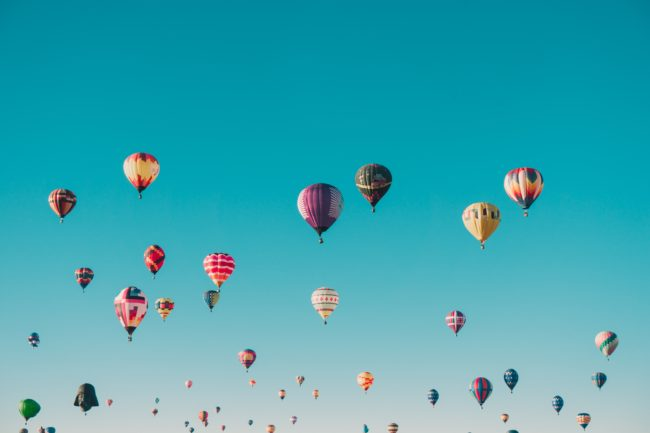 numerous hot air balloons