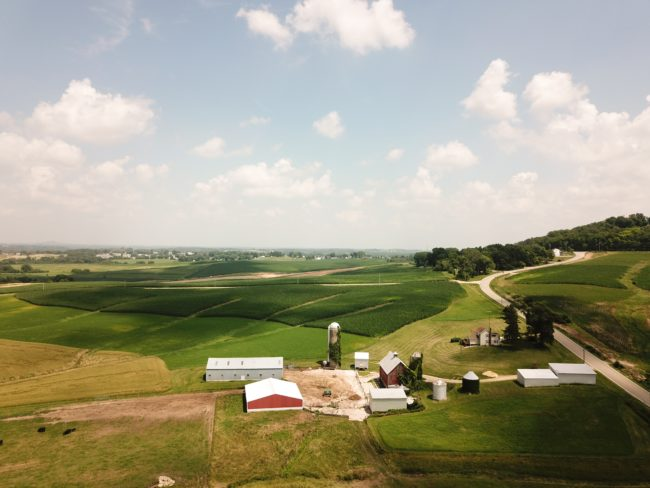 farm house and fields