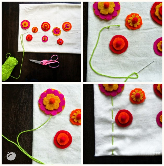 Collage of how to sew the stems onto the pillow case